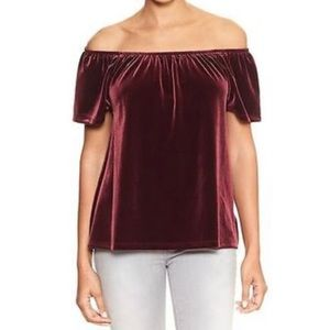GAP Wine Velvet Off Shoulder Top